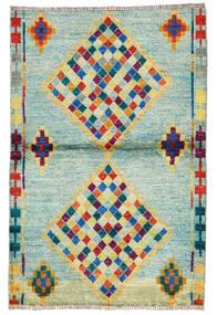 Moroccan Berber - Afghanistan Matta 95X143 Äkta Modern Handknuten Pastellgrön/Turkosblå (Ull, Afghanistan)