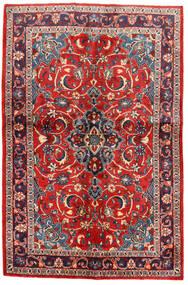Sarough Matta 134X203 Äkta Orientalisk Handknuten Svart/Roströd (Ull, Persien/Iran)
