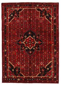 Hosseinabad Matta 154X218 Äkta Orientalisk Handknuten Mörkröd/Roströd (Ull, Persien/Iran)