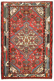 Hamadan Matta 82X125 Äkta Orientalisk Handknuten Svart/Mörkbrun (Ull, Persien/Iran)