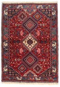 Yalameh Matta 102X143 Äkta Orientalisk Handknuten Mörkröd/Mörklila (Ull, Persien/Iran)