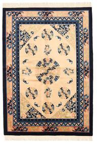 Kina Antikfinish Matta 137X198 Äkta Orientalisk Handknuten Mörkbeige/Mörklila (Ull, Kina)