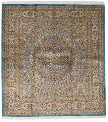 Kashmir Äkta Silke Matta 179X193 Äkta Orientalisk Handknuten Kvadratisk Ljusbrun/Ljusgrå (Silke, Indien)