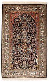 Kashmir Äkta Silke Matta 82X132 Äkta Orientalisk Handknuten Svart/Mörkbrun (Silke, Indien)