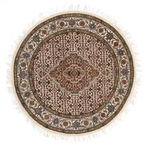 Tabriz Royal Matta Ø 101 Äkta Orientalisk Handknuten Rund Brun/Beige ( Indien)