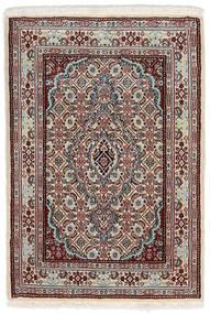 Moud Matta 62X90 Äkta Orientalisk Handknuten Ljusgrå/Mörkbrun (Ull/Silke, Persien/Iran)