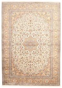 Kashmir Äkta Silke Matta 220X314 Äkta Orientalisk Handknuten Beige/Ljusrosa (Silke, Indien)