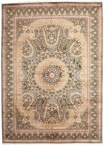Kashmir Äkta Silke Matta 246X345 Äkta Orientalisk Handknuten Beige/Brun (Silke, Indien)