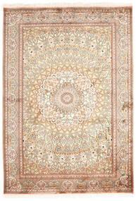 Kashmir Äkta Silke Matta 130X187 Äkta Orientalisk Handknuten Beige/Mörkbrun (Silke, Indien)