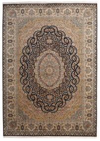 Kashmir Äkta Silke Matta 218X307 Äkta Orientalisk Handknuten Brun/Mörkgrå (Silke, Indien)