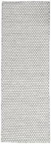 Kelim Honey Comb - Cream/Svart Matta 80X240 Äkta Modern Handvävd Hallmatta Ljusgrå/Beige (Ull, Indien)