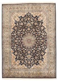 Kashmir Äkta Silke Matta 160X219 Äkta Orientalisk Handknuten Ljusgrå/Mörkbrun/Brun (Silke, Indien)