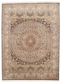 Kashmir Äkta Silke Matta 155X207 Äkta Orientalisk Handknuten Brun/Mörkbrun (Silke, Indien)