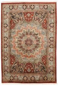 Kashmir Äkta Silke Matta 150X224 Äkta Orientalisk Handknuten Mörkbrun/Ljusbrun (Silke, Indien)