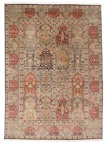Kashmir Äkta Silke Matta 151X210 Äkta Orientalisk Handknuten Brun/Ljusbrun (Silke, Indien)