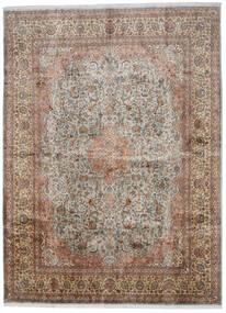Kashmir Äkta Silke Matta 276X376 Äkta Orientalisk Handknuten Ljusgrå/Brun Stor (Silke, Indien)