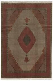 Tabriz 60 Raj Silkesvarp Matta 200X300 Äkta Orientalisk Handknuten Mörkröd/Mörkbrun (Ull/Silke, Persien/Iran)