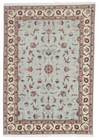 Tabriz 60 Raj Silkesvarp Matta 168X241 Äkta Orientalisk Handknuten Ljusgrå/Ljusbrun (Ull/Silke, Persien/Iran)