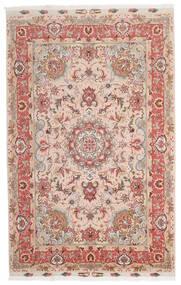 Tabriz 60 Raj Silkesvarp Matta 153X240 Äkta Orientalisk Handknuten Mörkröd/Mörkbrun (Ull/Silke, Persien/Iran)