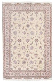 Tabriz 60 Raj Silkesvarp Matta 174X264 Äkta Orientalisk Handknuten Beige/Ljusrosa/Ljusgrå (Ull/Silke, Persien/Iran)