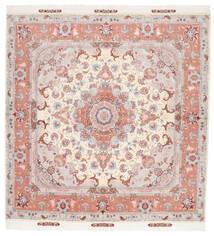 Tabriz 60 Raj Silkesvarp Matta 194X203 Äkta Orientalisk Handknuten Kvadratisk Ljusrosa/Vit/Cremefärgad (Ull/Silke, Persien/Iran)