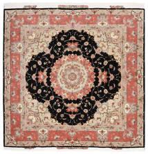 Tabriz 60 Raj Silkesvarp Matta 202X204 Äkta Orientalisk Handknuten Kvadratisk Beige/Svart (Ull/Silke, Persien/Iran)