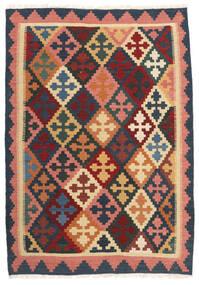 Kelim Matta 103X150 Äkta Orientalisk Handvävd Mörkgrå/Mörkröd (Ull, Persien/Iran)