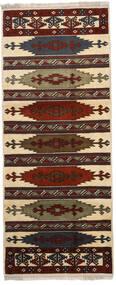 Turkaman Matta 87X210 Äkta Orientalisk Handknuten Hallmatta Mörkbrun/Ljusbrun (Ull, Persien/Iran)