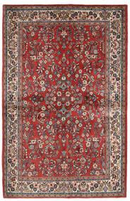 Sarough Matta 132X206 Äkta Orientalisk Handknuten Mörkröd/Beige (Ull, Persien/Iran)