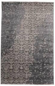 Damask Indisk Matta 192X297 Äkta Modern Handknuten Mörkgrå/Mörkbrun (Ull/Bambusilke, Indien)