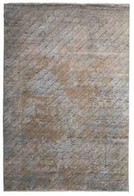 Damask Indisk Matta 199X292 Äkta Modern Handknuten Ljusgrå/Mörkgrå (Ull/Bambusilke, Indien)