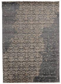 Damask Indisk Matta 217X303 Äkta Modern Handknuten Mörkgrå/Ljusgrå (Ull/Bambusilke, Indien)