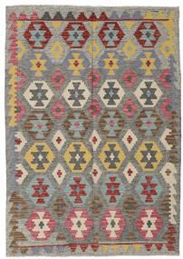 Kelim Afghan Old Style Matta 126X179 Äkta Orientalisk Handvävd Mörkgrå/Ljusgrå (Ull, Afghanistan)