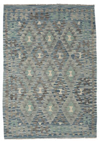 Kelim Afghan Old Style Matta 127X180 Äkta Orientalisk Handvävd Ljusgrå/Mörkgrå/Grön (Ull, Afghanistan)