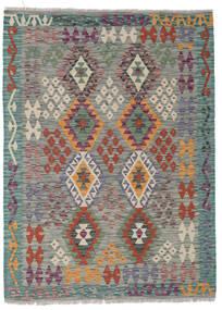 Kelim Afghan Old Style Matta 130X175 Äkta Orientalisk Handvävd Mörkgrå/Ljusgrå/Mörkgrön (Ull, Afghanistan)