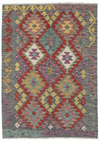 Kelim Afghan Old Style Matta 126X176 Äkta Orientalisk Handvävd Ljusgrå/Mörkgrå (Ull, Afghanistan)