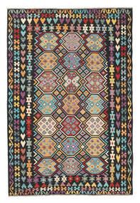 Kelim Afghan Old Style Matta 202X301 Äkta Orientalisk Handvävd Svart (Ull, Afghanistan)