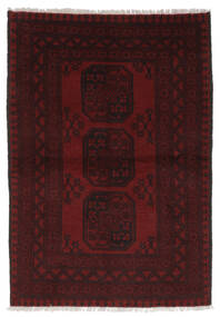 Afghan Matta 99X141 Äkta Orientalisk Handknuten Svart/Vit/Cremefärgad (Ull, Afghanistan)