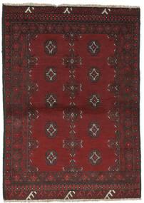 Afghan Matta 96X138 Äkta Orientalisk Handknuten Svart/Mörkbrun (Ull, Afghanistan)