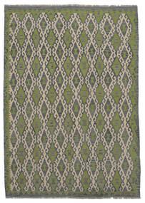 Kelim Afghan Old Style Matta 209X296 Äkta Orientalisk Handvävd Mörkgrå/Mörkgrön (Ull, Afghanistan)