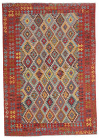 Kelim Afghan Old Style Matta 207X295 Äkta Orientalisk Handvävd Mörkbrun (Ull, Afghanistan)
