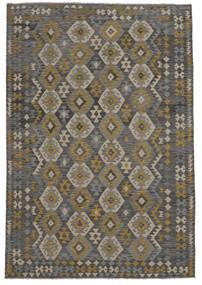 Kelim Afghan Old Style Matta 209X303 Äkta Orientalisk Handvävd Svart (Ull, Afghanistan)