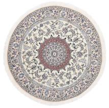 Nain 9La Matta Ø 145 Äkta Orientalisk Handknuten Rund Vit/Cremefärgad/Ljusgrå (Ull/Silke, Persien/Iran)
