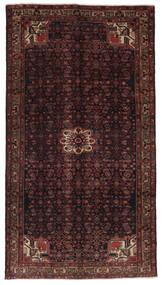 Hosseinabad Matta 159X288 Äkta Orientalisk Handknuten Hallmatta Svart/Mörkbrun (Ull, Persien/Iran)