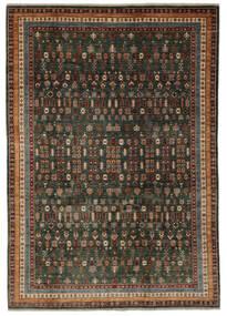 Shabargan Matta 204X281 Äkta Modern Handknuten Svart/Mörkbrun (Ull, Afghanistan)