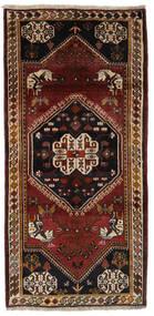 Ghashghai Matta 94X196 Äkta Orientalisk Handknuten Hallmatta Svart/Mörkbrun (Ull, Persien/Iran)