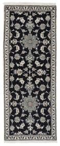 Nain Matta 77X195 Äkta Orientalisk Handknuten Hallmatta Svart/Vit/Cremefärgad (Ull, Persien/Iran)