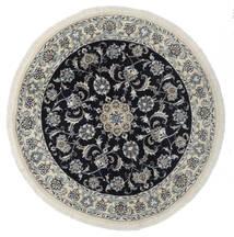 Nain Matta Ø 140 Äkta Orientalisk Handknuten Rund Vit/Cremefärgad/Svart (Ull, Persien/Iran)
