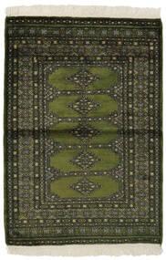 Pakistan Bokhara 3Ply Matta 99X145 Äkta Orientalisk Handknuten Svart/Mörkgrön (Ull, Pakistan)