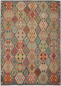 Kelim Afghan Old Style Matta 213X295 Äkta Orientalisk Handvävd Mörkgrön/Mörkbrun (Ull, Afghanistan)
